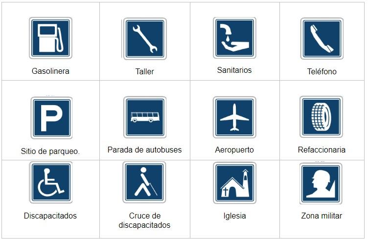 Señales informativas con color azul oscuro, señales de transito
