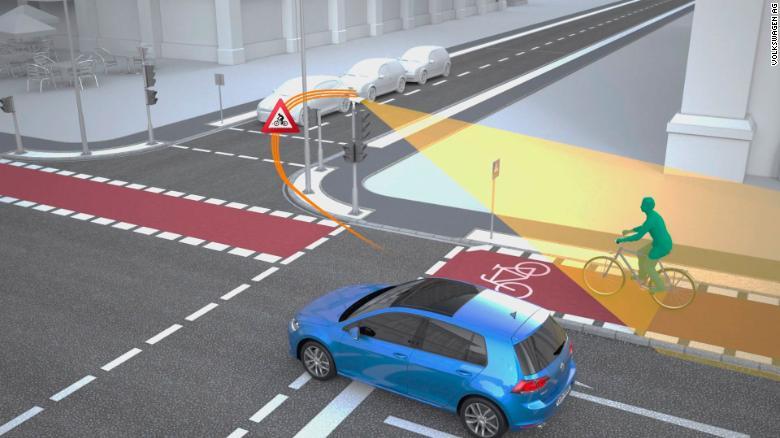 Muestra de sensores indicando ciclista cerca del cruze vial