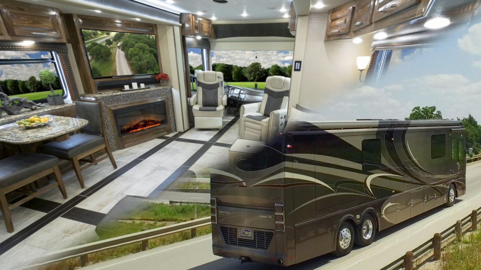 El Foretravel IH – 45 Luxury Motor Coach visto de una manera general tanto interna como externa