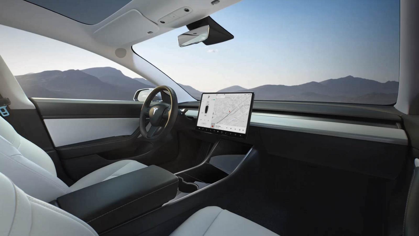 Tesla Model 3 interior blanco