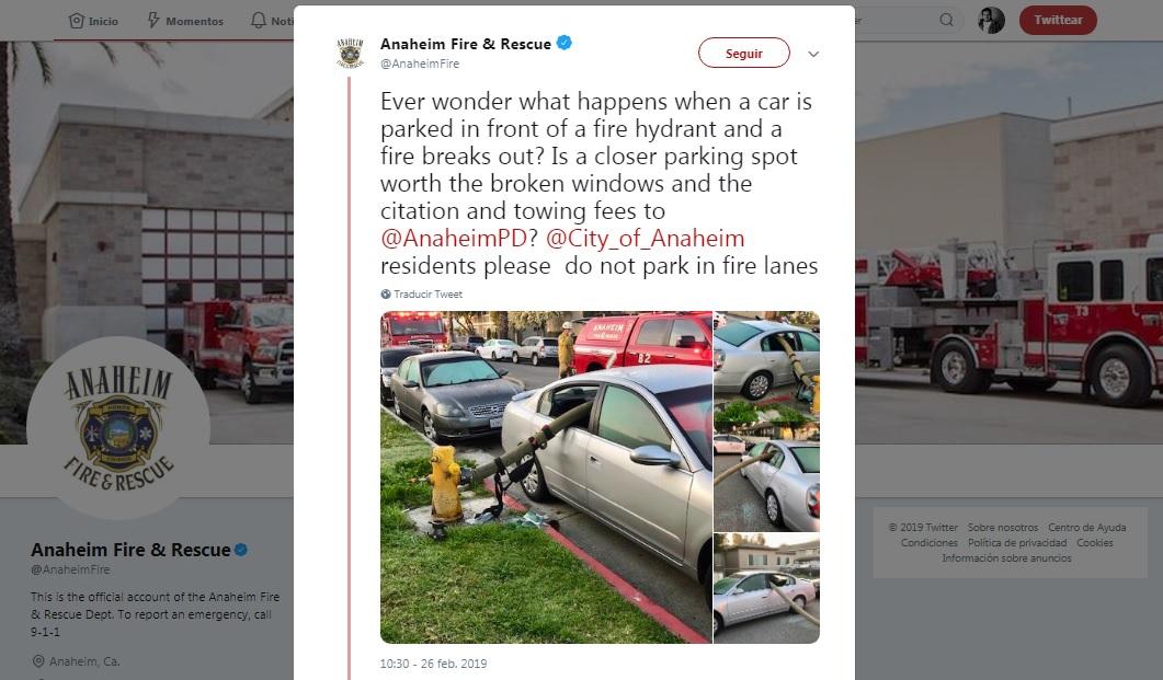 Posteo de Twitter del departamento de Bomberos y Rescates de Anaheim reportó