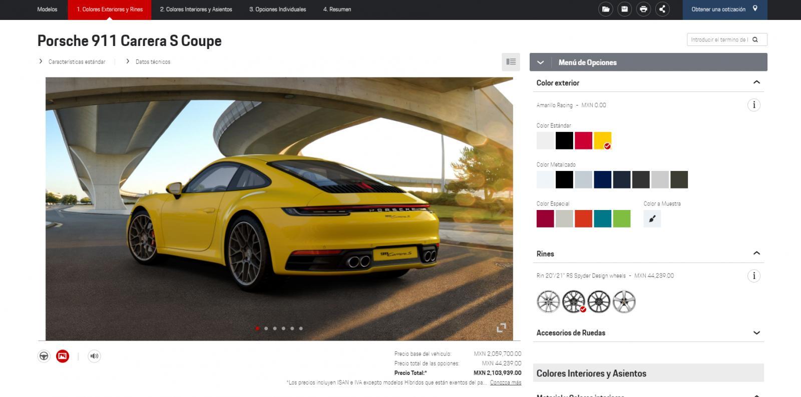 Configurador Porsche