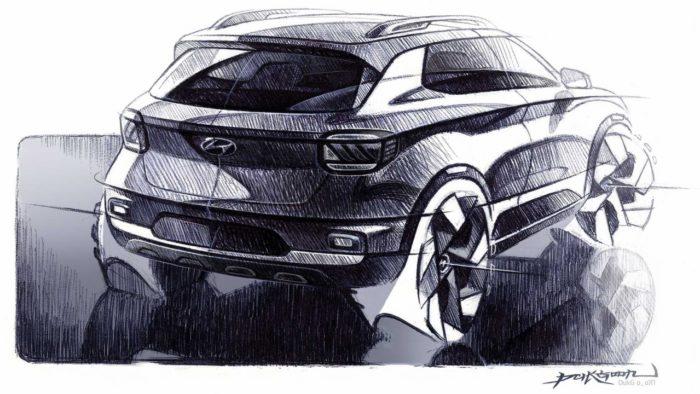 La Hyundai Venue lucirá muy musculosa, según revelan los bocetos