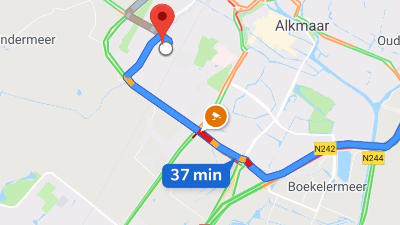 Google Maps muestra los monitores de velocidad, así como otra clase de información como el tráfico en tiempo en real