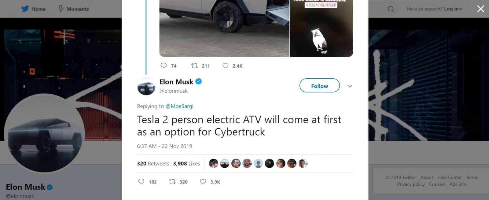 Tesla Cyberquad Twitter