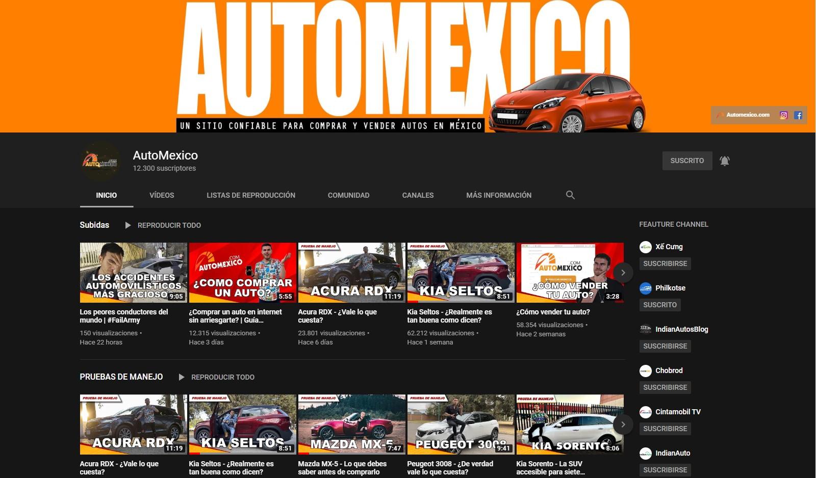 El canal de Youtube de Automexico.com