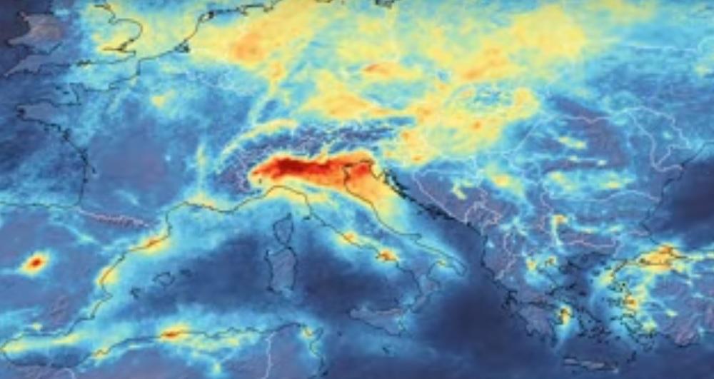 Imagen satelital de Europa durante enero 2020