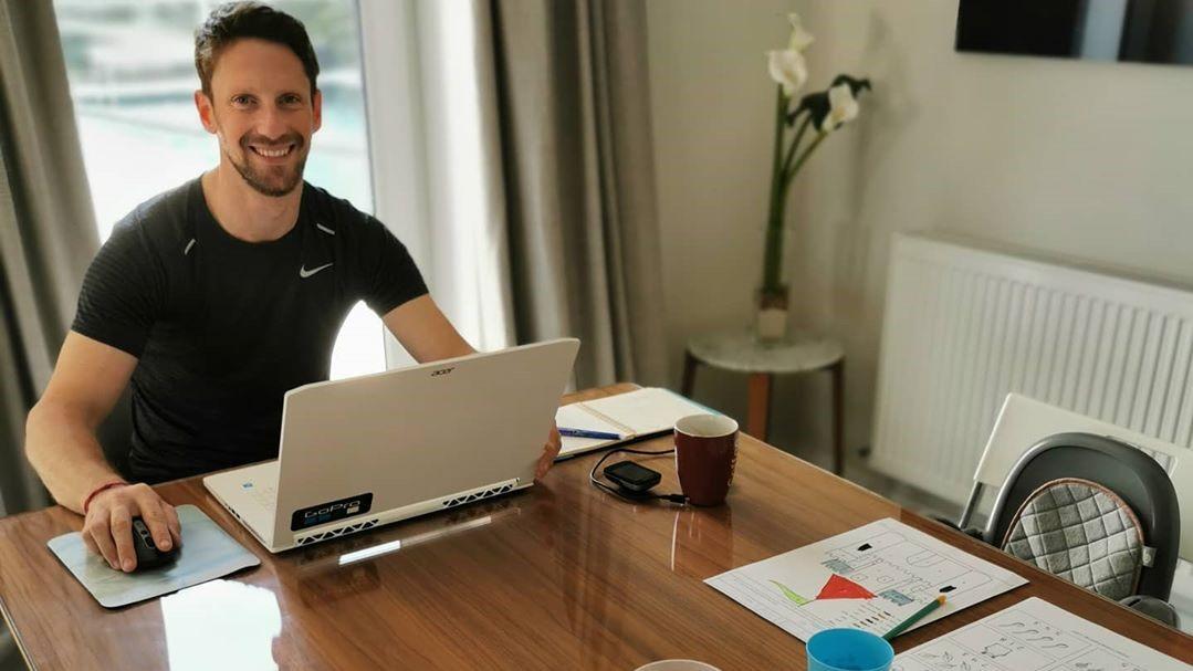 Grosjean se convirtió en profesor privado de sus hijos ante la suspensión de clases en Suiza