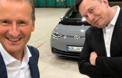 Video: Elon Musk maneja el Volkswagen ID.3 y Herbert Diess la Tesla Model Y